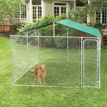 Large galvanized steel dog kennel