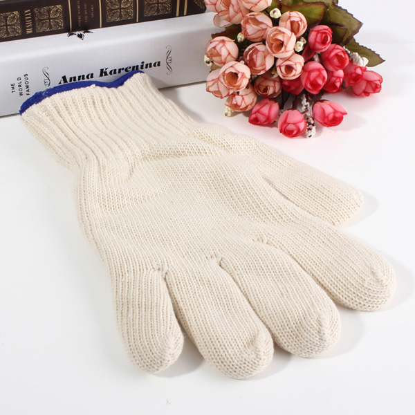 Brand MHR 7/10 gauge white knitted cotton gloves manufacturer in china/600g bleached white gloves tcb