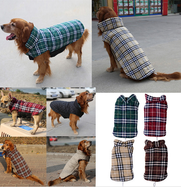 Waterproof Dog Jacket Reversible Design Warm Winter Dog Coats Pet Clothes Dog Vest Cloth Winter British Style Pet Clothing