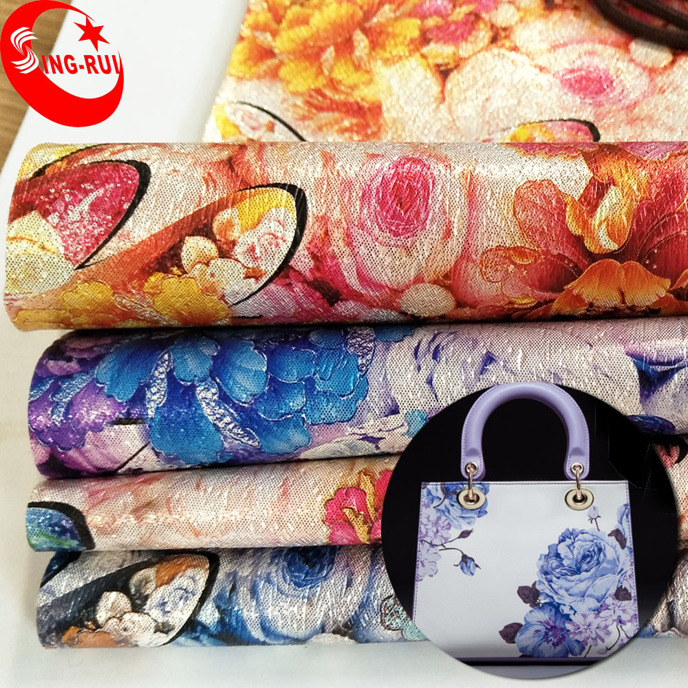 Very Popular Floral Pattern PU Material Rexine Bag Leather