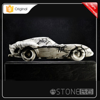 2015 Hot Sale High Quality White Marble Car Carving Sculpture
