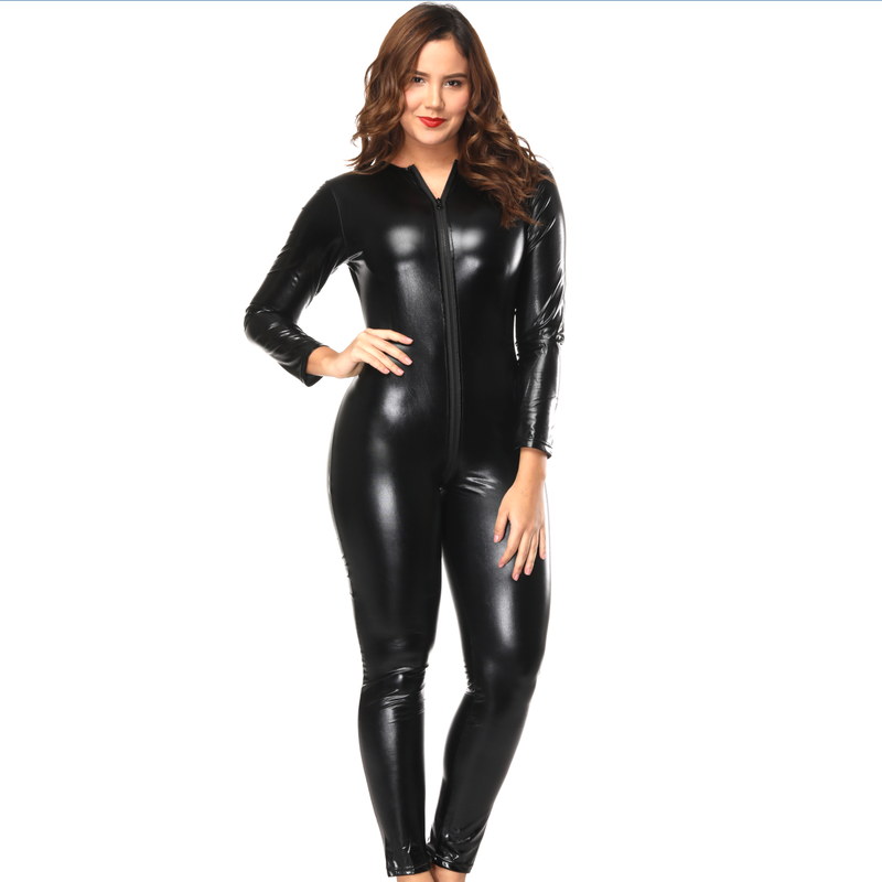 women sexy vinyl clothing black leather catsuit zipper crotch bodysuit for women