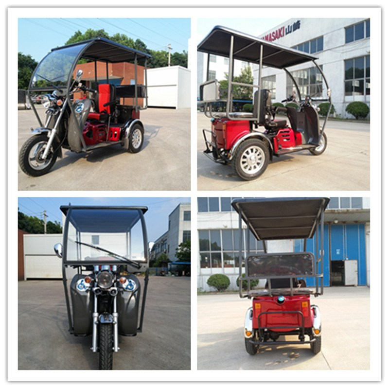chinese 110cc gasline passenger tricycle with roof