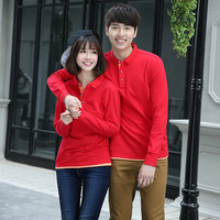 Lovers collar long sleeves cotton blank dress wholesale embroidered logo according to customer polo t shirt