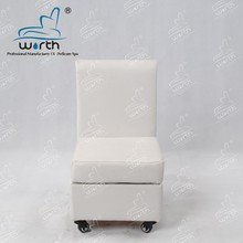 White luxury nail spa pedicure stool technician chair with four wheels