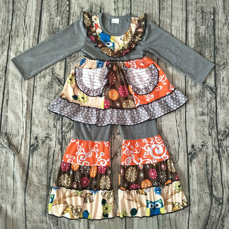 2016 yawoo new patterns fireworks and owl patchwork dress and pants kids clothes clothing set