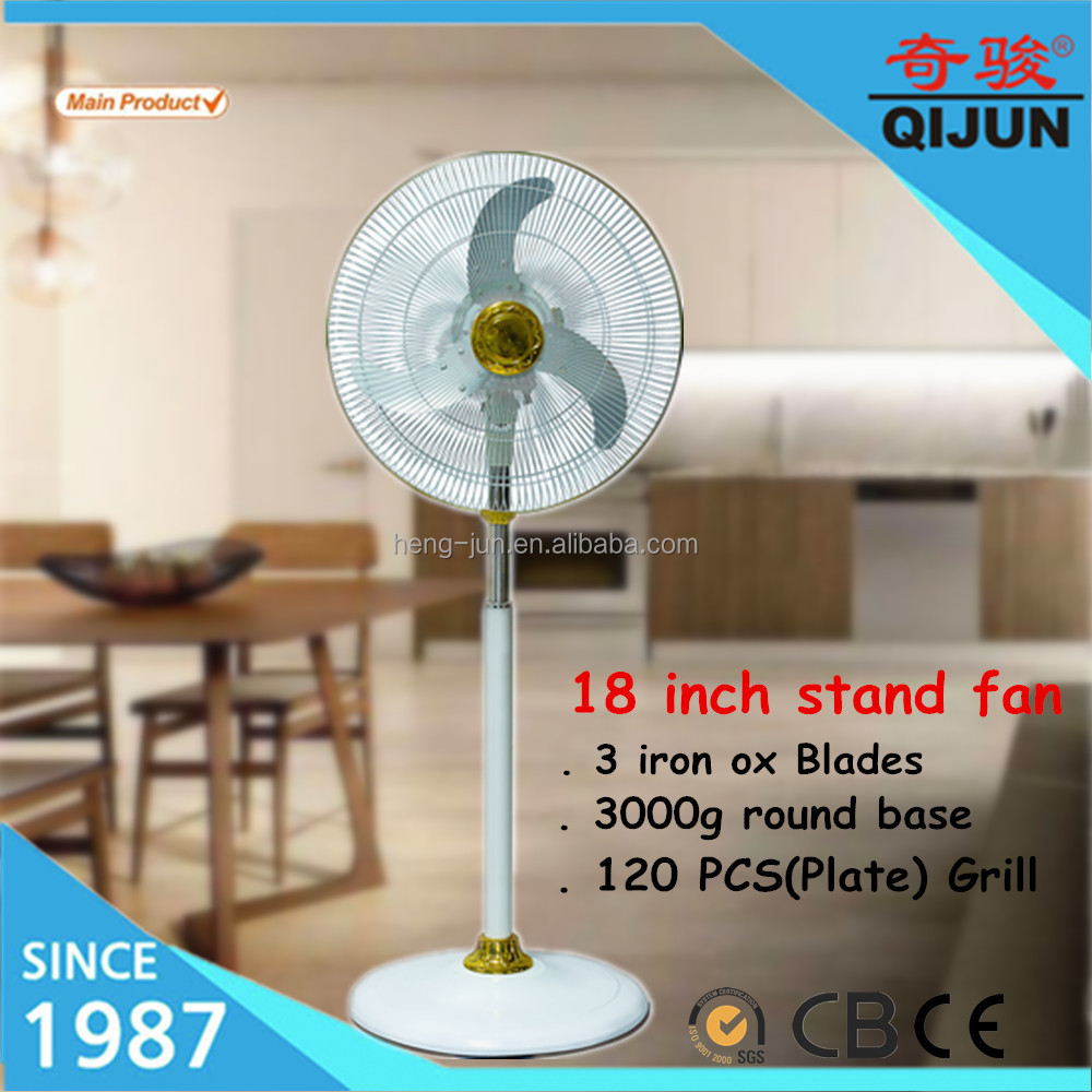 18 inch air cooling crown home /office stand fan with iron blades