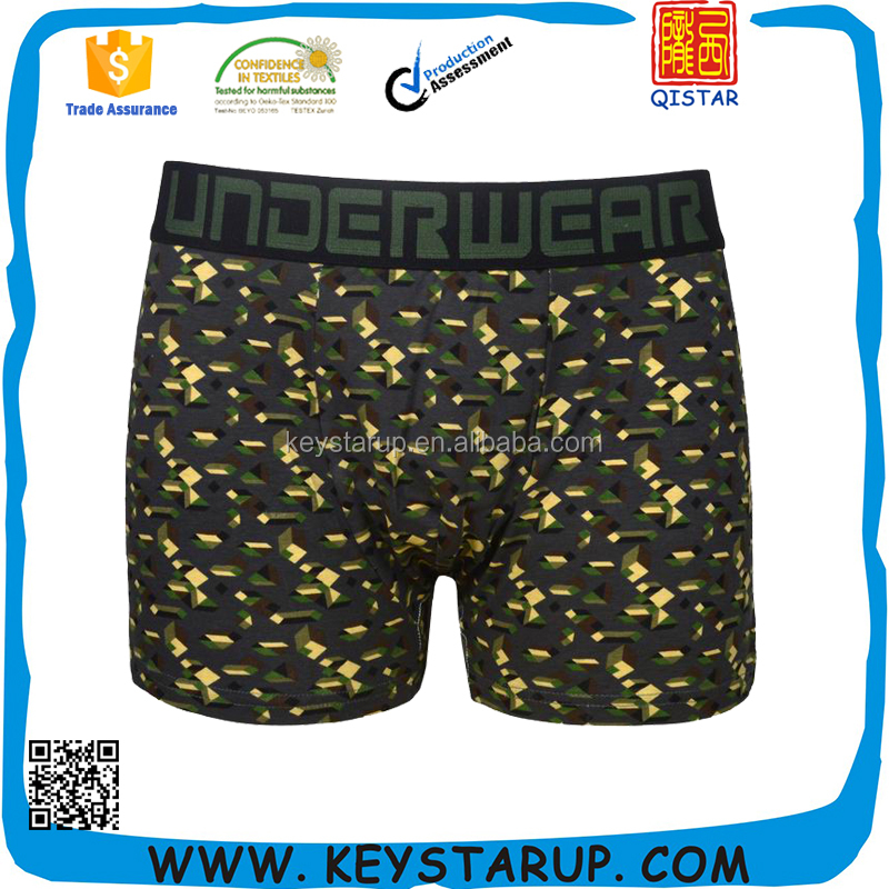 Camouflage green print boxer mens underwear man underpants