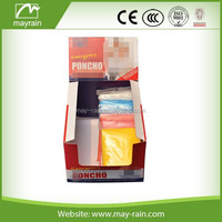 PE Disposable Plastic display boxes Rain Poncho