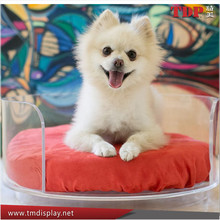 Manufaturer Clear Round Acrylic Dog Bed with Red Cushion for Pet Store
