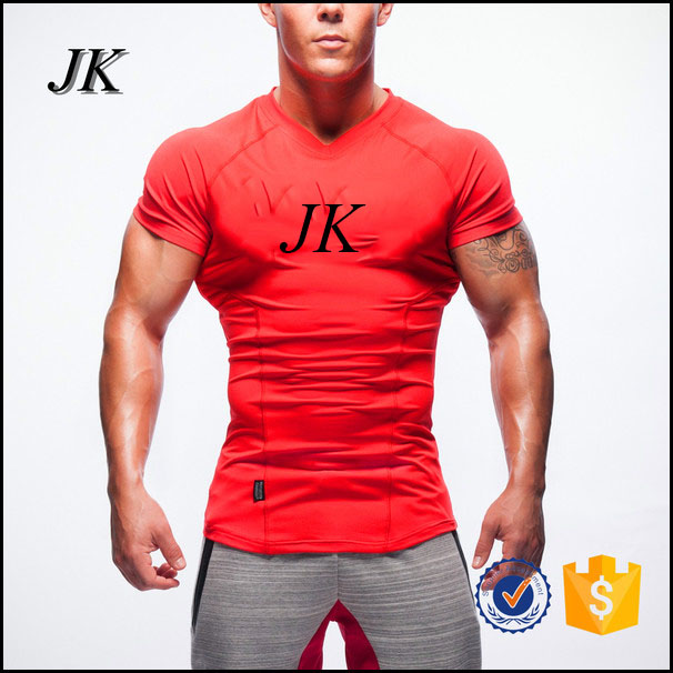 Mens custom made printing t shirt muscle fit fitness t-shirt for sportswear