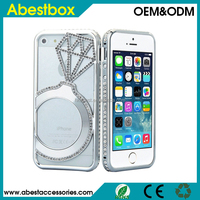 For iPhone 6/6 Plus Metal Bumper frame+Luxury Rhinestone Diamond Ring Cover Bling Phone Case