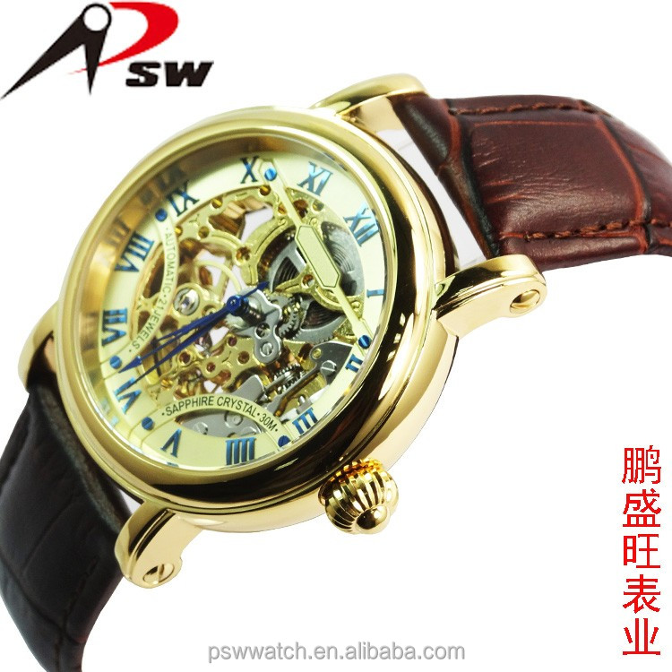 Skeleton man mechanical automatic watches with golden movement