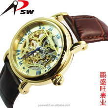Skeleton man mechanical automatic watches with golden miyota movement