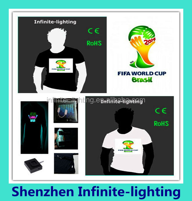 Alibaba Wholesale Brasil World Cup Sound Activated EL Tee Shirt/Flash shirt/LED T-Shirt