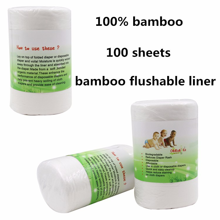 Ohbabyka Antibacterial 100% Biodegradable & Flushable Bamboo Cloth Diaper Liners