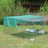Outdoor metal wire Run Hutch Rabbits pet enclosure with cover