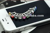 Lovely Crystal Earring Style 3.5mm Earphone Ear Cap Dock Dust Plug for iPhone 4S