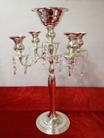 table candle stand - wedding centerpiece - metal candle holder and top with flower bowl