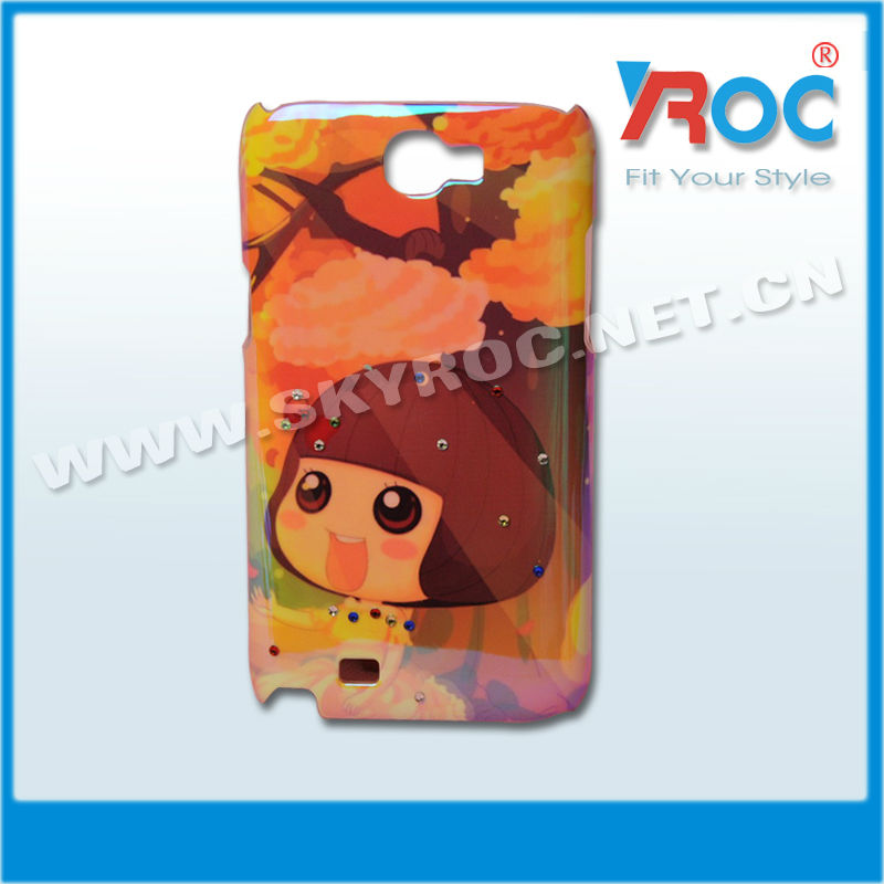 New arrival cute hard plastic phone case for samsung note 2 n7100 with diamond