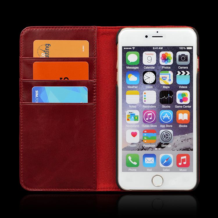 Top Quality Flip Wallet Leather Case with Business Card Holder for iphone 7 7plus