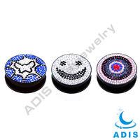 Smile face crystal Acrylic ear piercing plugs