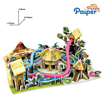 3d Intelligence puzzle game for papper characteristics with Waterpark,Amazon Jungle Exploration