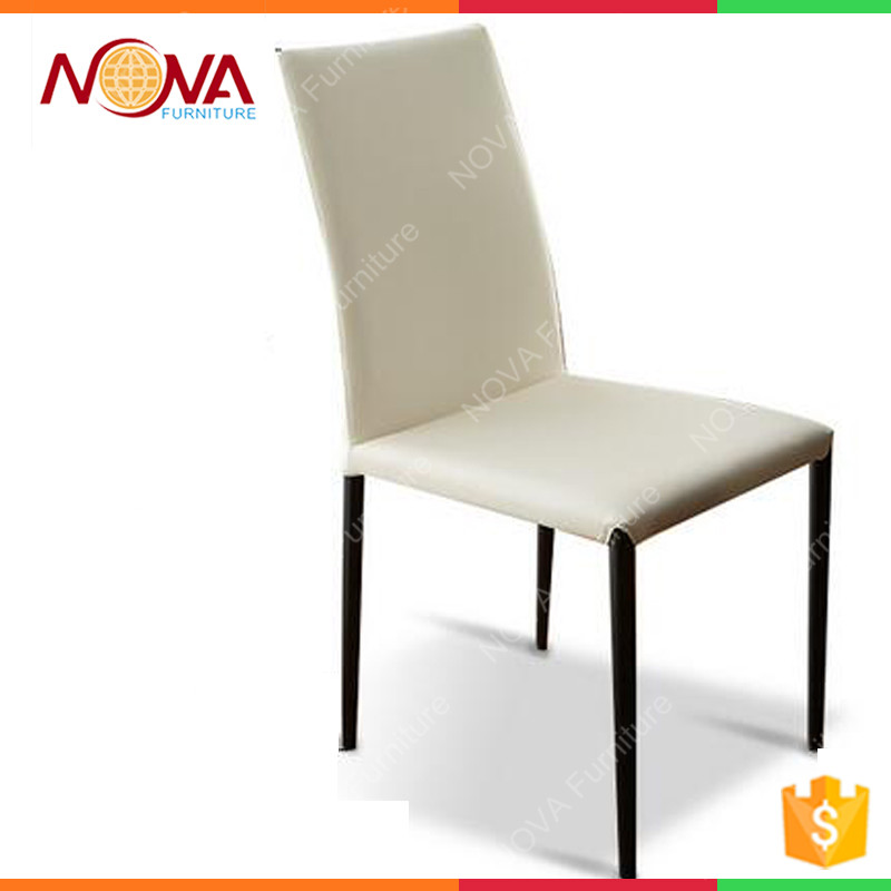 Home used living room furniture specific metal frame pu leather material coverd stackable unfolding colorful dinner chairs