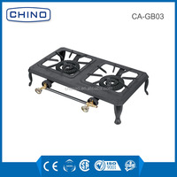 New Cast Iron Camping Stove Double Burner Propane Gas Outdoor Range + Hose Regulator CA-GB02