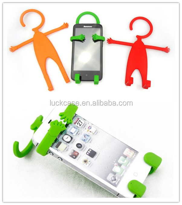 Multi-function lovely cartoon little man shape silicone stand holders barckets for universal mobile phones