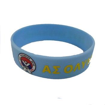2017 Blue customized debossed ink silicone bracelet rubber band