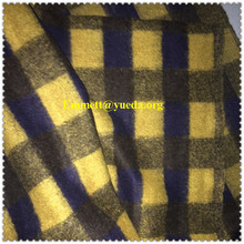 60%wool 10%acrylic 30%polyester yellow navy colors plaid check jacquard designs knit fabric for garment coat
