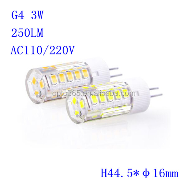 220V G4 LED Ceramics Led lamps 2835 SMD White/ Warm White 33leds 3W light Crystal Corn Bulb Lighting