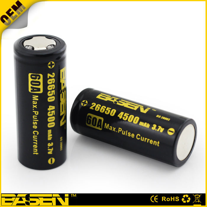 High Quality 3.7v 26650 4500mAh imr battery flat cell 26650 replacement cell batteries for power tools