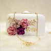 High quality leather Diamond Pearl Flowers women clutch evening bag