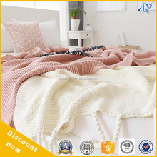 knit fluffy throw blanket Cover Electric Warm Solid Color Knitted Throw Blanket