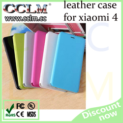 PU leather flip cover for xiaomi 4, auto-sleep/wakeup phone case for xiaomi mi4