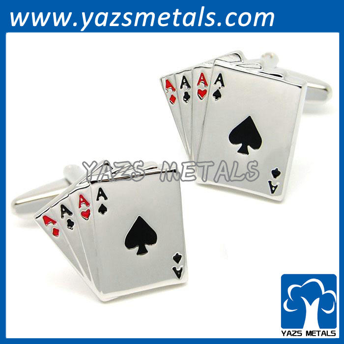 metal cufflink poker shaped with Peach Hearts and alphabet
