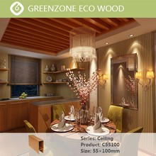 indoor modern strip wood plastic Ceiling by green building material