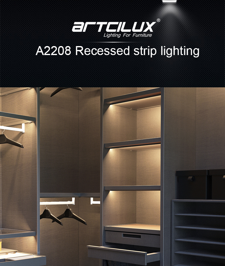 A2208 Light Soft Even Shining Toward Wardrobe Inside Motion Sensor Switch Different Color Recessed Wardrobe Led Strip Light