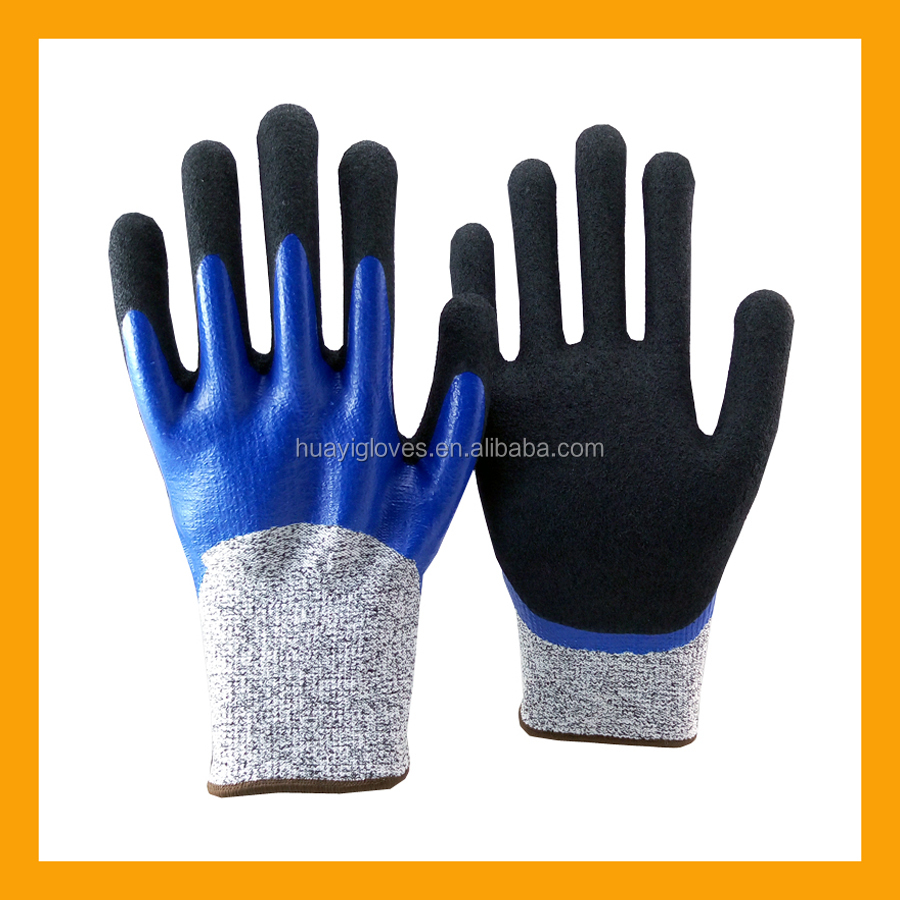 13Gauge HPPE Double Nitrile Coated Anti Cut Gloves Oil Resistant Cut Proof Gloves