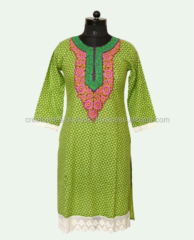 Embroidery Causal Wear / Causal Wear Dress / Elegant style women wholesale tops neck designs of kurtis
