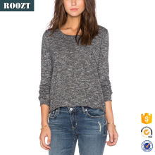 Latest fashion blouse design winter grey long sleeve casual women's tops