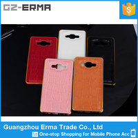 Latest Design Metal Aluminum Bumper case with leather back cover for samsung galaxy a7