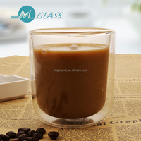 High borosilicate glass cheap thick double wall caster coffee cup N6085