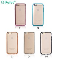 Hot New Products 2016 Shiny Gold Electroplating Crystal Clear Soft TPU Silicone Mobile Phone Case For iPhone6