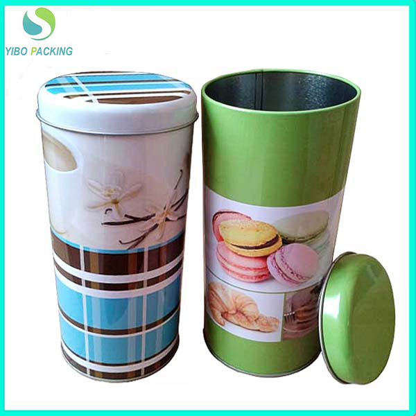 colorful custom food round tin can with airtight lid
