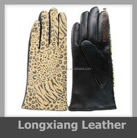 fashion women pressed leopard printed sheep leather gloves