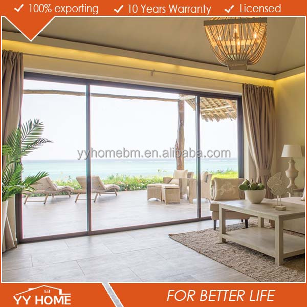 Aluminium lowes sliding screen door with double glass