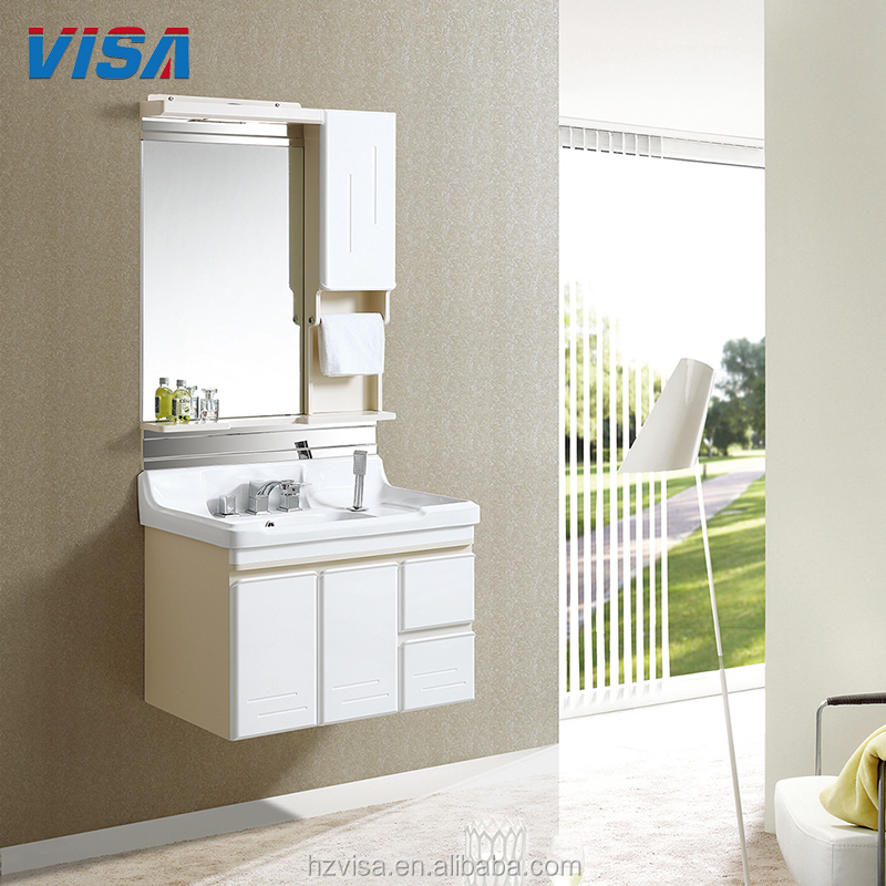 Side cabinet shower film bathroom mdf or pvc vanity set with glass